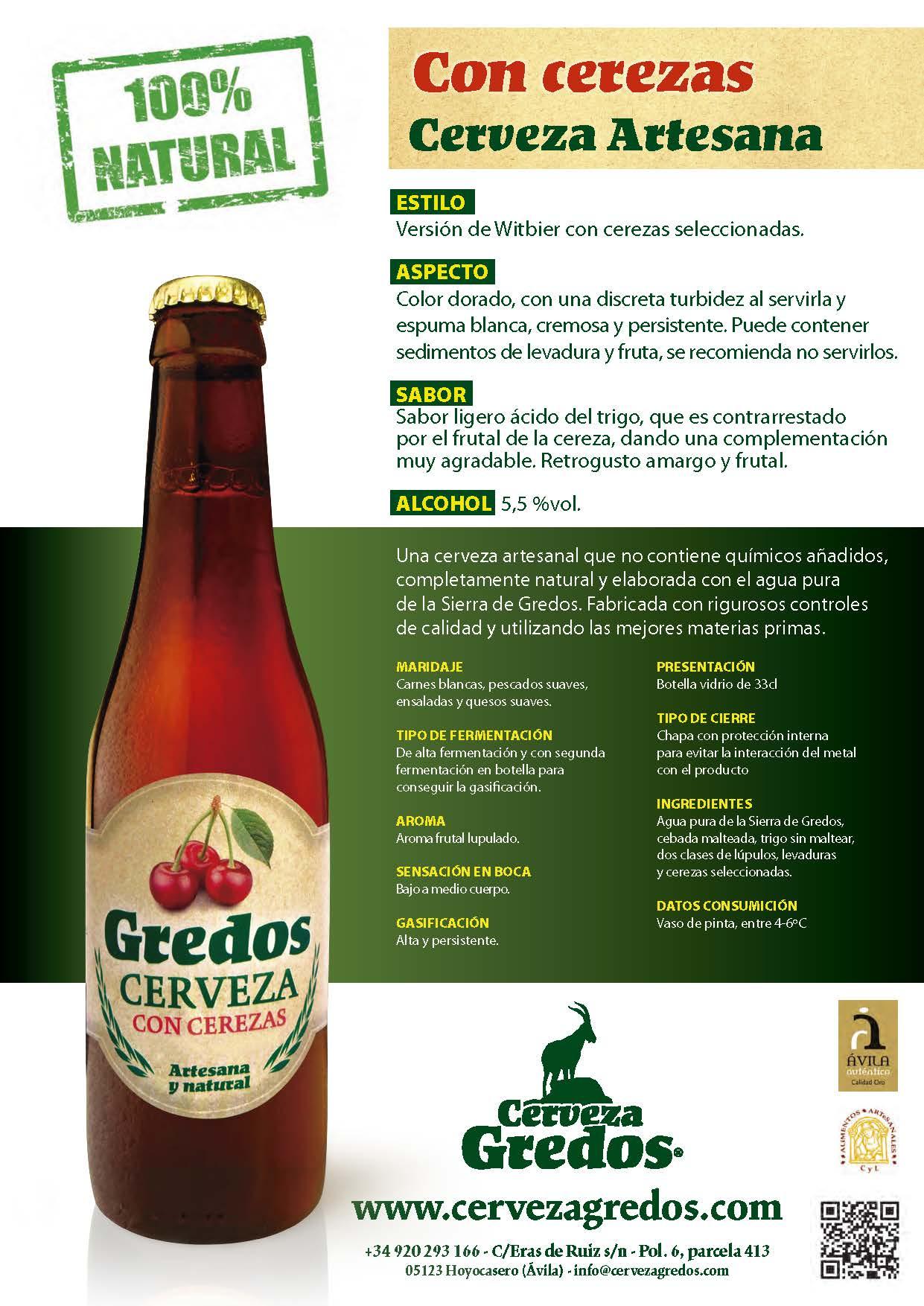 Cerveza artesana gredos cerezas