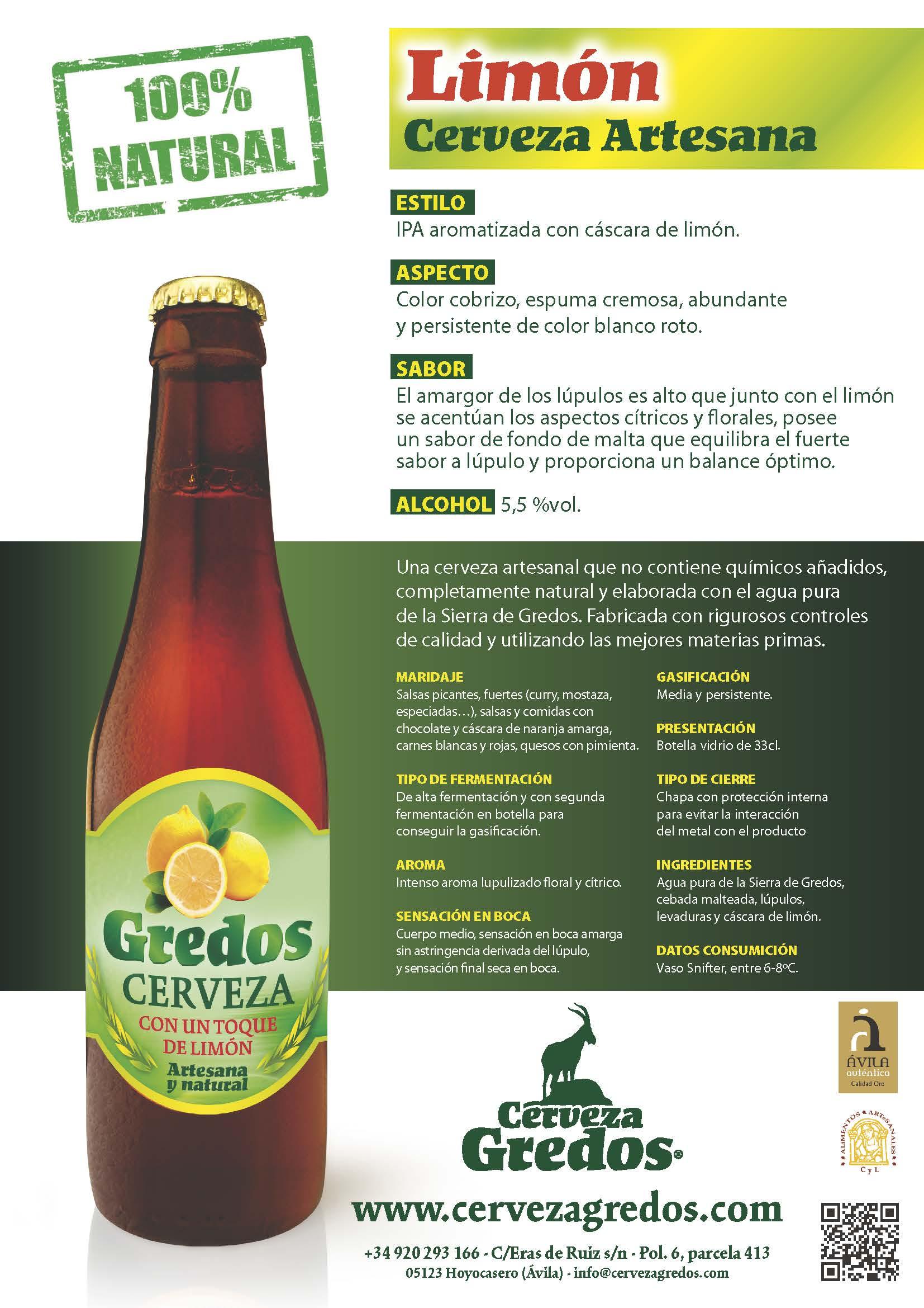 Cerveza artesana con limón gredos