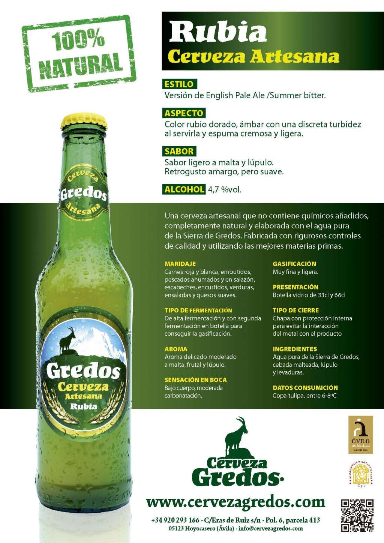 Cerveza artesanal natural rubia sierra de gredos